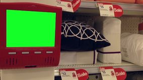 Green billboard for your ad inside Target store stock video footage