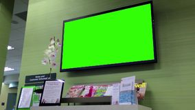 Green billboard for your ad at tv. Inside TD Bank stock video footage