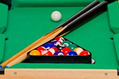Green billiard (pool) table Royalty Free Stock Images