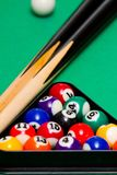Green billiard (poool) table Stock Photos