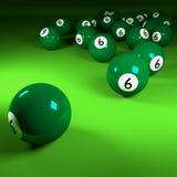Green billiards balls number six Stock Images