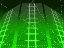 Green Binary Circuit Background Shows Matrix Stock Photos