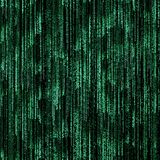 Green binary code. On black background Stock Images