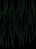 Green binary code. On black background Stock Photos