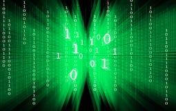 Green binary code on black background stock illustration