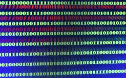 Green binary code on computer screen texture background.  stock image