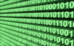 Green binary code wall Stock Photo