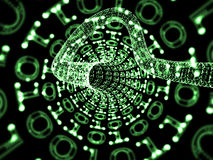 Green Binary Tunnel Stock Photo