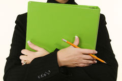Green Binder Woman Stock Image