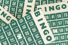 Green bingo cards  Stock Images