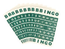 Green bingo cards isolated Royalty Free Stock Images