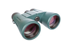 Green binoculars. Isolated on a white background. Shallow depth of field Royalty Free Stock Photo