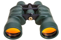 Green binoculars with yellow glasses isolated Royalty Free Stock Images