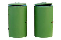 Green bins isolated on white background Stock Photo