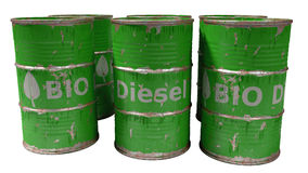 Green bio diesel barrels isolated on white Royalty Free Stock Images