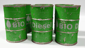 Green bio diesel barrels on white background Royalty Free Stock Images