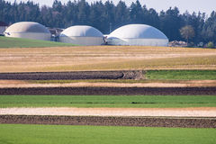 Green bio energy. Alternative energy production with a biogas facility Royalty Free Stock Photography
