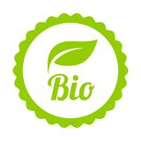 Green Bio icon or symbol. Isolated on white background. Vector stock illustration
