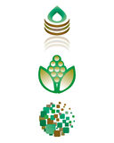 Green bio icons. Symbols representing the clean nature Royalty Free Stock Photo