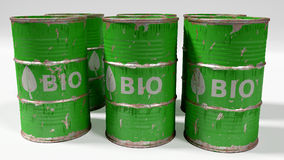 Green bio oil barrels isolated on white Stock Images