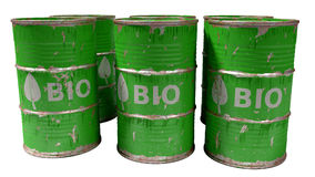 Green bio oil barrels isolated on white Royalty Free Stock Photo