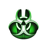 Green Biohazard Symbol. A green and silver 3d bio-hazard symbol Royalty Free Stock Image