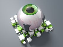 Green Bionic Eye. 3D rendering: Bionic Eye Implant with green eye Royalty Free Stock Image