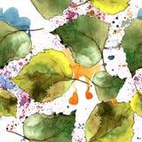 Green birch leaves. Seamless background pattern. Fabric wallpaper print texture. stock photos