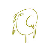 Green bird. With wings, tail, beak vector illustration