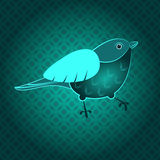 Green bird. Dekoryativnaya illustration green background Royalty Free Stock Image