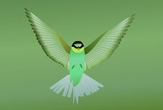 Green bird. Flying on green background stock illustration