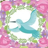 Green bird flying wreath flowers decoration Stock Photos