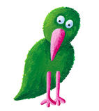 Green bird with pink beak. Acrylic illustration of green bird with pink beak Royalty Free Stock Photo