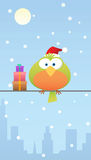 Green bird with santa hat and gift Stock Photo