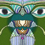 The forest bird with a big eyes. Green birds with big eyes. Handmade abstract drawing stock illustration