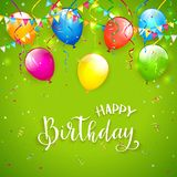 Green Birthday background with pennants and balloons. Text Happy Birthday on green background with holiday streamers, pennants, flying colorful balloons and Stock Photography