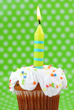 Green birthday candle Stock Photo