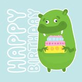 Green birthday monster Stock Photography