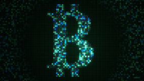 Green bit coin sign abstract virtual crypto currency concept Royalty Free Stock Photos