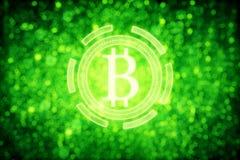 Green bitcoin icon Stock Photo