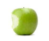 Green bitten apple Stock Photography