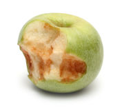 Green bitten apple Stock Photography