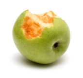 Green bitten apple Royalty Free Stock Photography