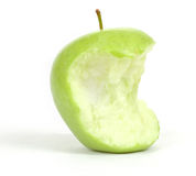 Green bitten apple  on white Stock Photography
