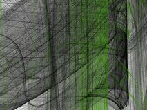 Green black abstract fractal with curved lines. On a white background royalty free illustration