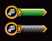 Green and black arrow banners with whistle Stock Photo