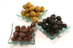 Green, black and brown olives Stock Photography