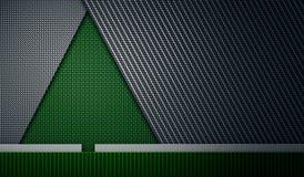 Green black carbon fiber textured fir-tree shape material design. Abstract modern green black carbon fiber textured material design in fir tree shape for Stock Photos