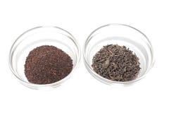 Green and black Ceylon tea Stock Photos