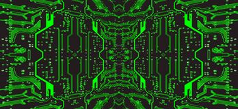 Green and black circuit board.Symmetrical technology background. Green and black circuit board suitable as symmetrical technology background.Digitally altered Stock Image